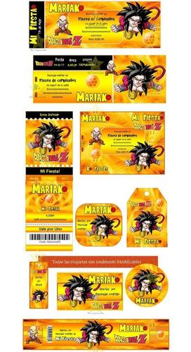 kit imprimible dragon ball diseñá tarjetas cumples y mas