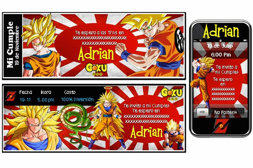 kit imprimible dragon ball z personalizado 100%
