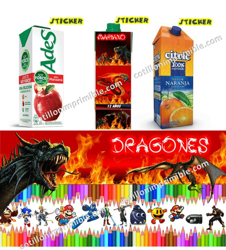 kit imprimible dragones con candy bar