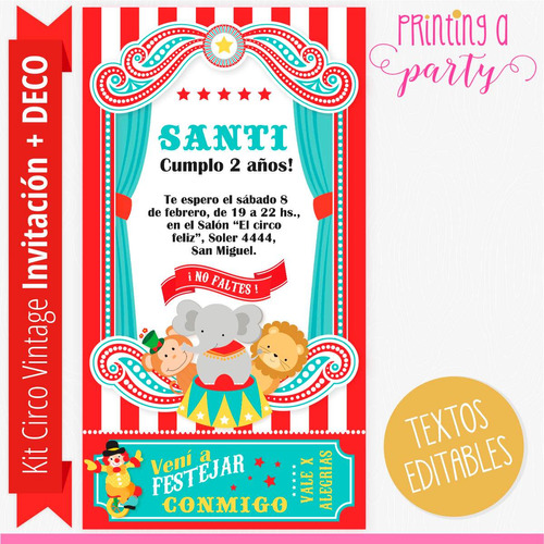 kit imprimible editable circo vintage decoración