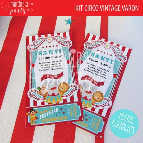 kit imprimible editable circo vintage decoración