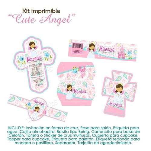kit imprimible editable comunión nena kp041