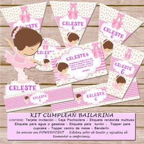 Kit Imprimible Editable Cumpleaños Bailarina Rosa