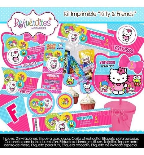 kit imprimible editable cumpleaños kitty y sus amigos kp019