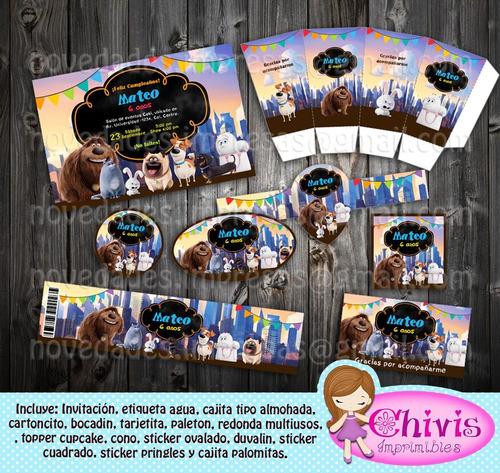 kit imprimible editable cumpleaños mascotas kp060