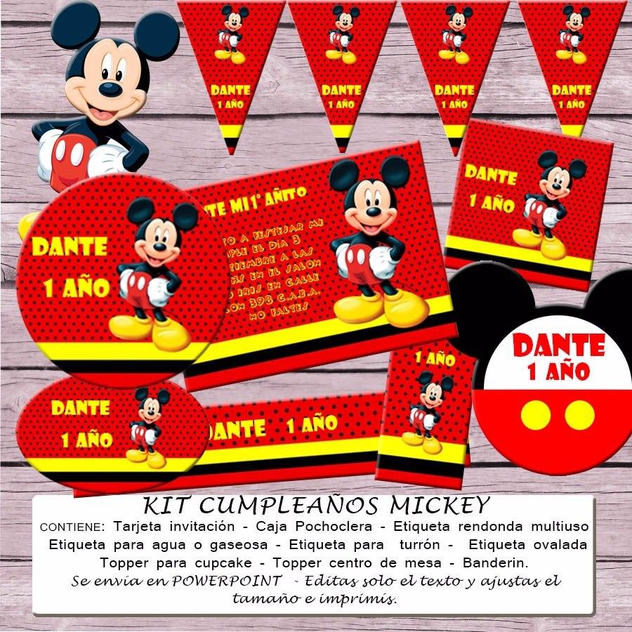 Kit Imprimible Editable Cumpleaños Mickey Mouse