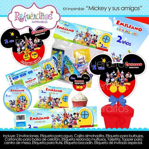 kit imprimible editable cumpleaños mickey y sus amigos kp039