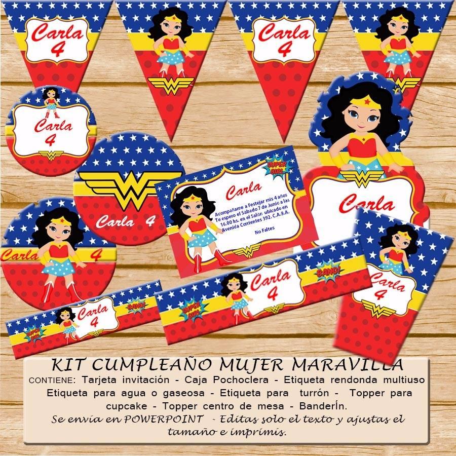 Kit Imprimible Editable Cumpleaños Mujer Maravilla