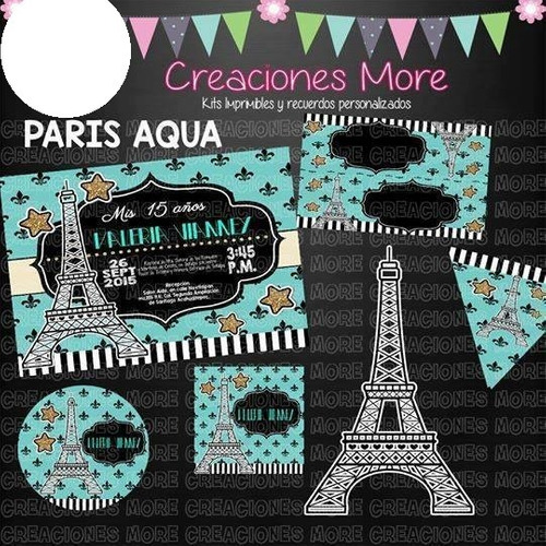 kit imprimible editable cumpleaños paris aqua kp006