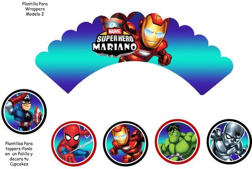 kit imprimible  editable escuadron d super heroes oferta 2x1