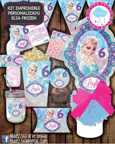 kit imprimible editable frozen elsa