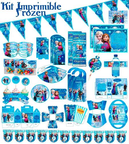 kit imprimible editable frozen todo para tu fiesta temática