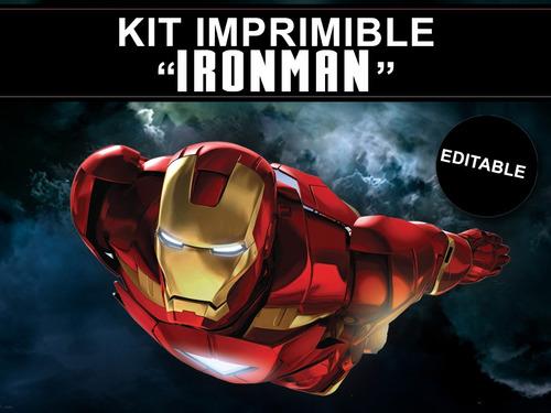 kit imprimible editable ironman, golosinas personalizadas