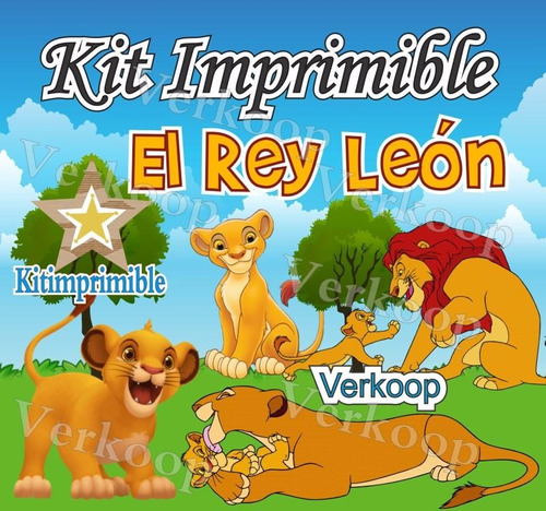 kit imprimible el rey leon + candy bar personaliza tu fiesta