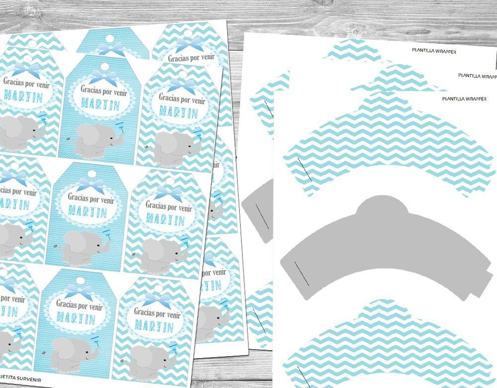 Kit Imprimible Elefante Baby Shower Bautismo Candy Bar Cumpl