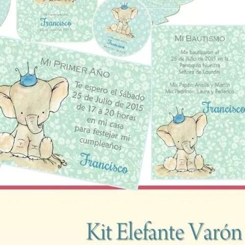 kit imprimible elefante varón bautismo cumpleaños infantiles