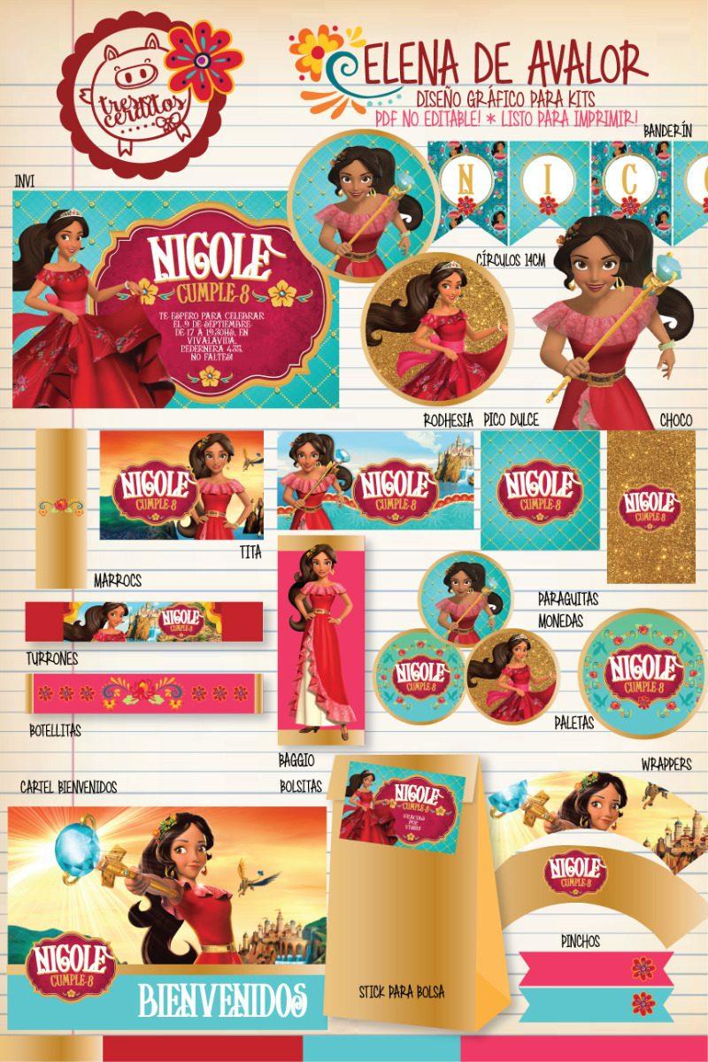 Kit Imprimible Elena De Avalor Princesa Disney Candy Bar! - $ 220,00 ...