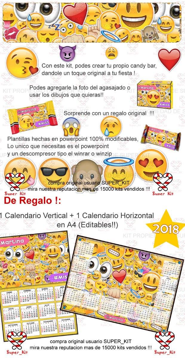Emoji Del Calendario.Kit Imprimible Emoticones Emojis Candy Bar Props 150