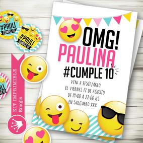 Kit Imprimible Emojis Emoticones Invitación Candybar