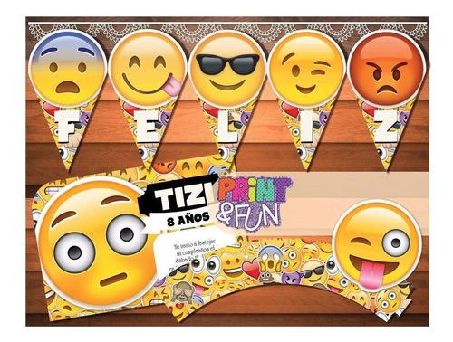 kit imprimible emojis emoticones textos editables candy bar