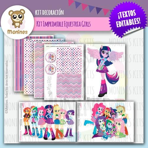 kit imprimible equestria girls pequeño pony texto editable