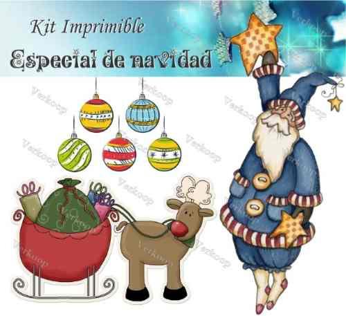 kit imprimible especial de navidad: tarjetas cajas scrapbook
