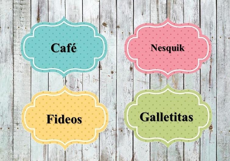Kit Imprimible Etiquetas De Cocina Frascos De Colores 4 X 1. - $ 24 ...
