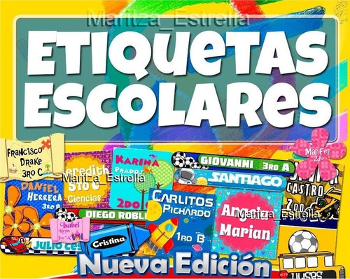kit imprimible etiquetas escolares 100% editables calcomania