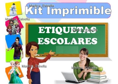 kit imprimible etiquetas escolares 100% editables calcomania