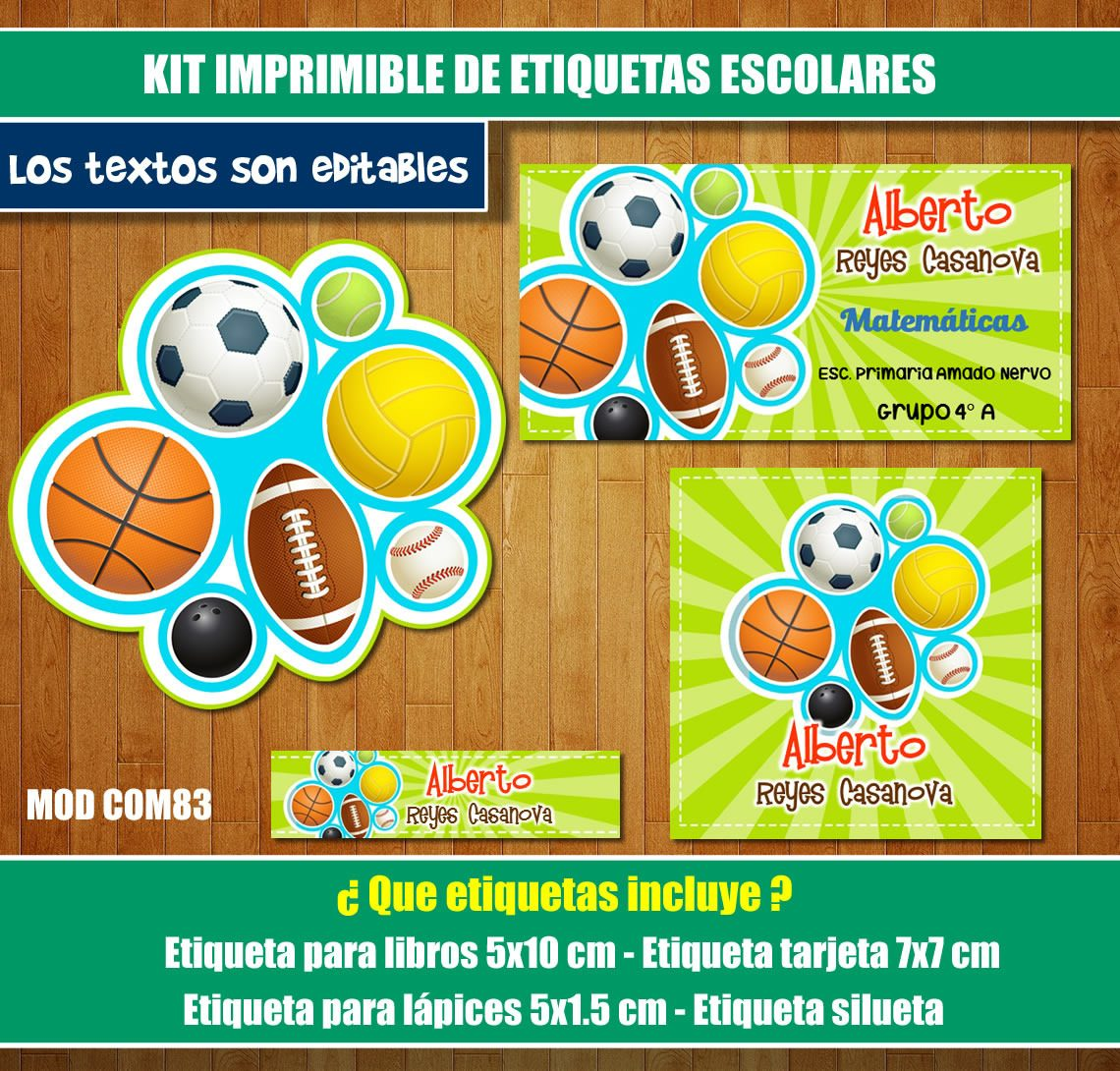 Kit Imprimible Etiquetas Escolares Deportes Sports Calcomani ...