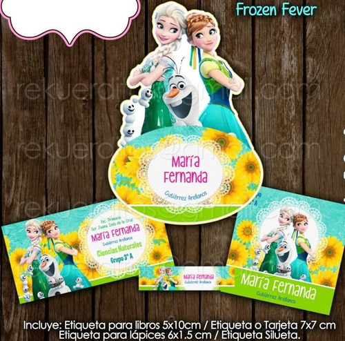 kit imprimible etiquetas escolares frozen fever flores elsa