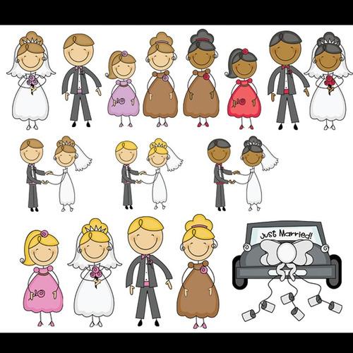 kit imprimible familia palito matrimonio 1 imagenes clipart