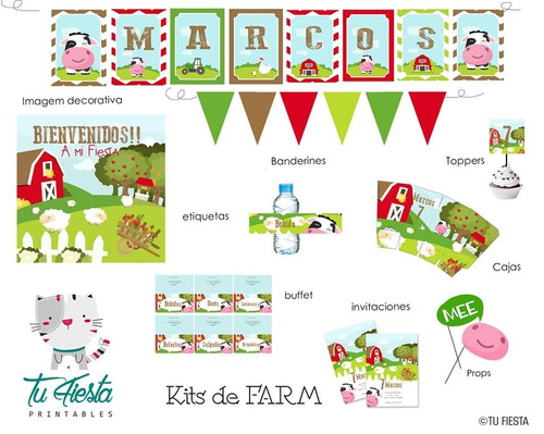 kit imprimible farm animalitos de granja