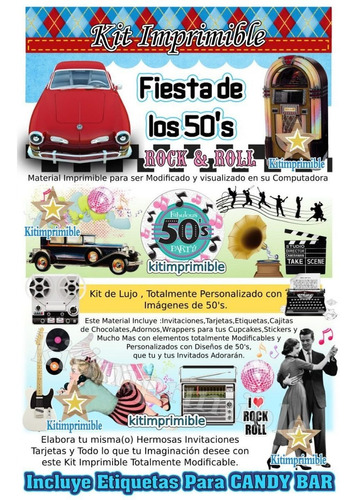 kit imprimible fiesta de los 50s rock and roll candy bar