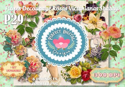 kit imprimible figuras rosas flores victorianas estampados