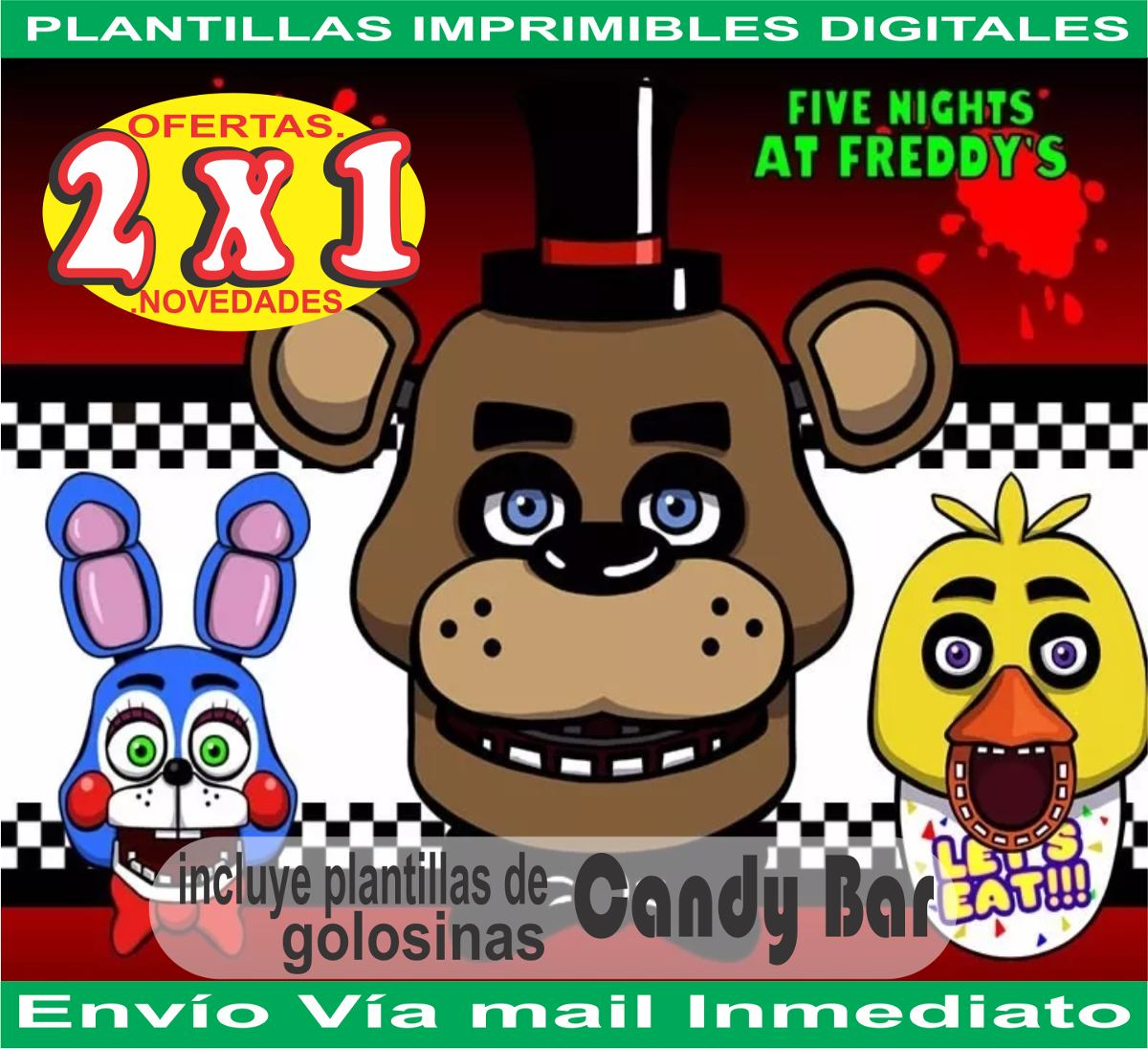 Kit Imprimible Five Nights At Freddy\'s Tarjetas Candybar 2x1 - $ 27 ...