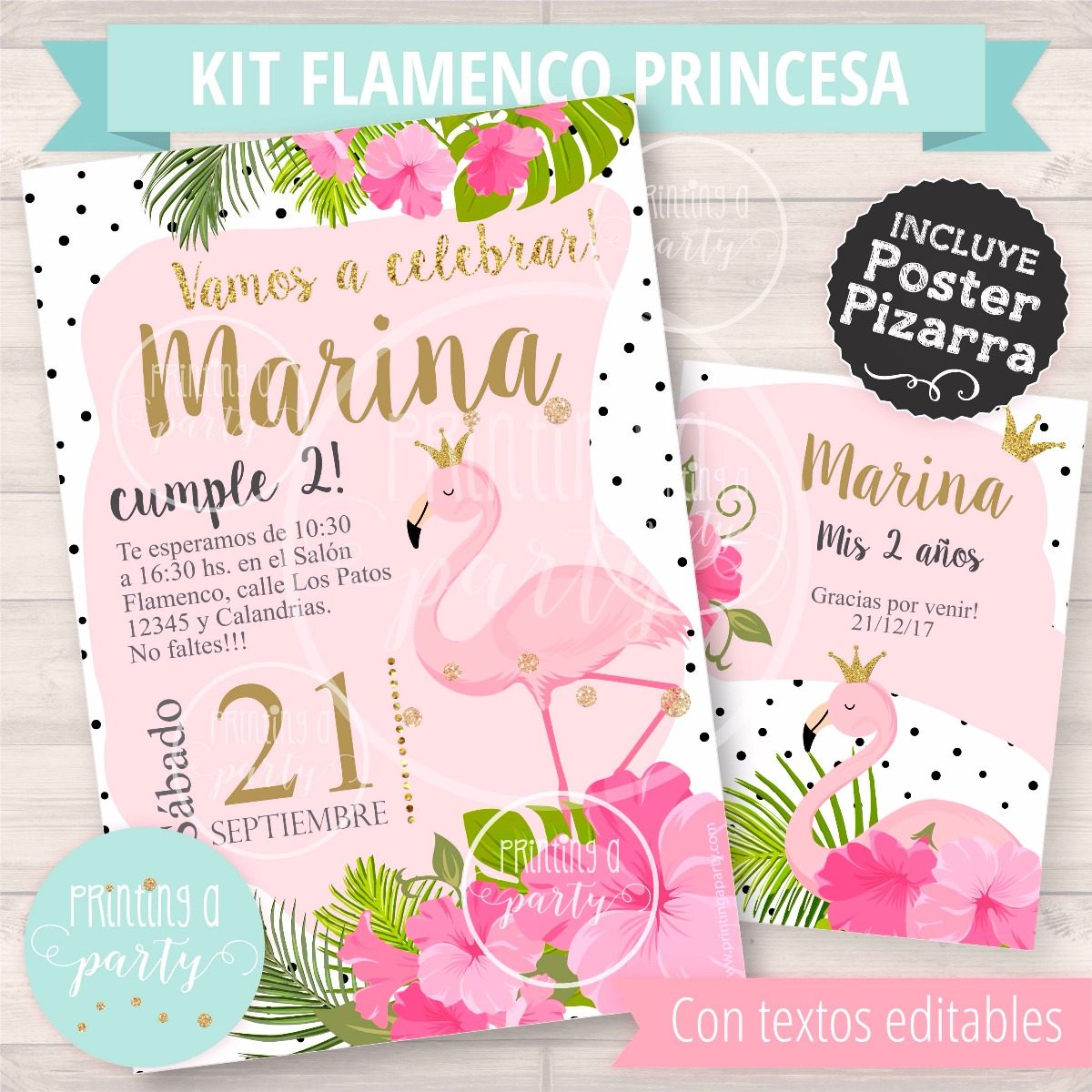 Kit Imprimible Flamenco Princesa Rosas Editable Tropical - $ 300,00 ...
