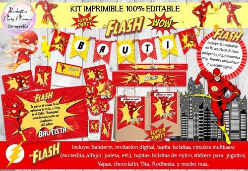kit imprimible flash superheroe heroe decoración n87