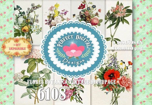 kit imprimible flores botanica vintage antiguas decoupage ++