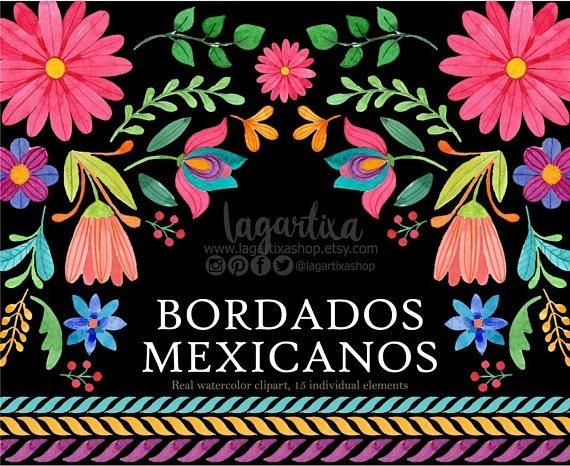 Kit Imprimible Flores Mexicanas Bordados Clipart Png 29 90 En