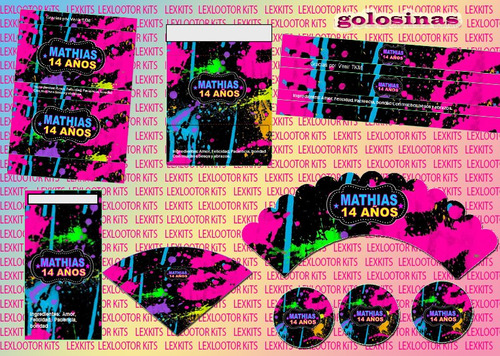 kit imprimible fluo fluorescente 80´s colores disco candybar