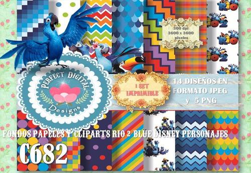 kit imprimible fondos clipart rio 2 disney p/ candybar decor