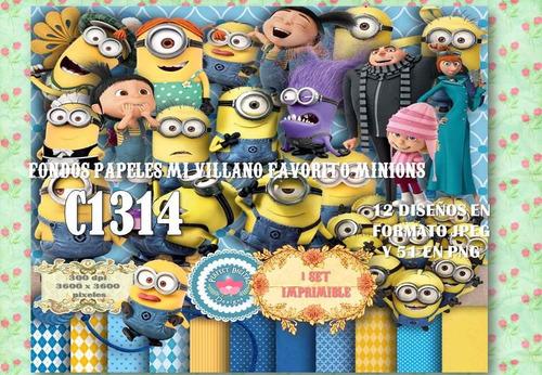 kit imprimible fondos cliparts minions villano 63 diseños