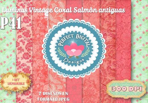 kit imprimible fondos coral salmòn vintage avejentados scrap