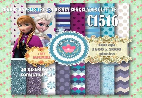 kit imprimible fondos frozen 20 diseños p/candybar decoupage