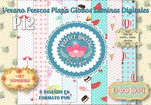 kit imprimible fondos laminas verano frescos p/ candybar