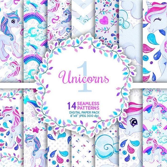 Kit Imprimible Fondos Papel Pony Unicornio Colores Pastel - S/ 15,00 ...
