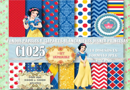 kit imprimible fondos papeles blancanieves disney princesas
