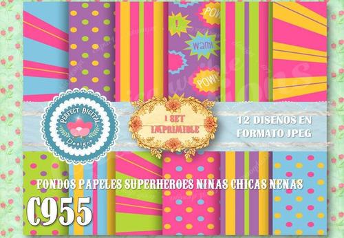 kit imprimible fondos superheroes niñas p/ cumpleaños scrap