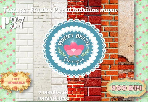 kit imprimible fondos textura ladrillos pared decoupage tags